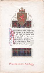 crest & tartan design, Burns quotes middle & below FRIENDSHIP MAKES US A' MAIR HAPPY