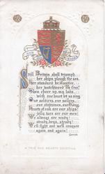 crest & tartan design, Garrick quotes below STILL BRITAIN SHALL TRIUMPH HER SHIPS PLOUGH...