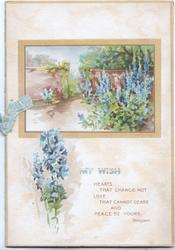 MY WISH verse..yellow bordered inset of walled garden, path left blue delphiniums right, more below