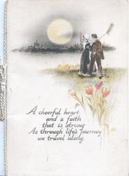A CHEERFUL HEART....man & woman walk left in moonlight beside river, tulips front right
