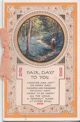 FAIR DAYS TO YOU inset of woman in forest above, verse below