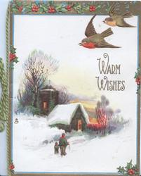 WARM WISHES in gilt,  2 bluebird-of-happiness fly, snowy rural scene, lighted church