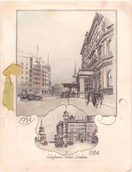 LANGHAM HOTEL LONDON, 2 views:  large oblong inset (1934) with smaller inset below (1864)