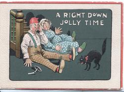 A RIGHT DOWN JOLLY TIME couple fell down stairs investigating noise-was from squalling black cat