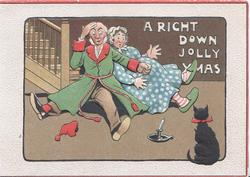 A RIGHT DOWN JOLLY XMAS couple fell down stairs investigating noise-was from squalling black cat