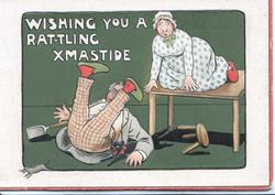 WISHING YOU A RAT-TLING XMAS TIDE man fell & woman on table chasing a rat, cat under man's arm