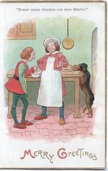 MERRY GREETNGS cook stands boasting, dog behind steals food, proverb