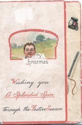 WISHING YOU A SPLENDID SPIN THROUGH THE FESTIVE SEASON, window to show fallen cyclist, flap that opens