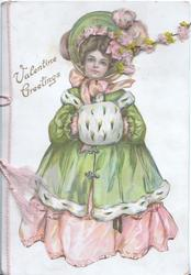 VALENTINE GREETINGS pretty girl in old style winter dress & muff,face seen through perforation, flowers applique