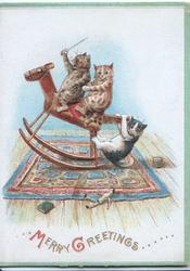MERRY GREETINGS 3 kittens ride rocking horse, front kitten waves sword