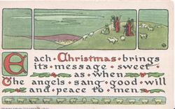 EACH CHRISTMAS( E illuminated)....shepherds on hillside with sheep