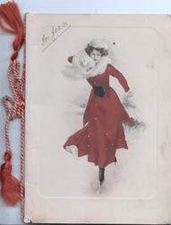no front title girl in red with white scarf skates front