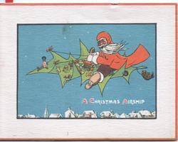 A CHRISTMAS AIRSHIP in white, Santa flies a fantasy airplane, deep blue sky