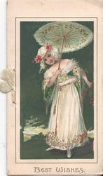 BEST WISHES in gilt below girl standing under open parasol, night view