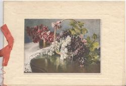 no front title, pot of roses , basket of grapes on table