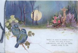 THERE'S NO NEED...verse moonlit scene, roses & other flowers round sundial, 2 bluebirds of happiness left