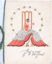 SING A SONG AT CHRISTMAS! art deco seated lady in red & white, bird on hand, holly sprays