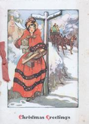 CHRISTMAS GREETINGS lady in old style red dress standing at cross road waiting for 4 horse coach approaching, snow scene