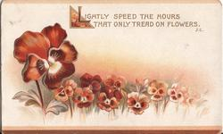 LIGHTLY SPEED THE HOURS THAT ONLY TREAD ON FLOWERS  field of pansies