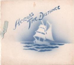 ACROSS THE DISTANCE title & masted ship stenciled in blue