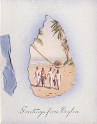 GREETINGS FROM CEYLON in blue below Ceylon cut-out, view of SEA SHORE AT MOUNT LAVINIA (from postcard)