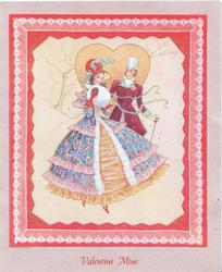 VALENTINE MINE in red below inset of man & woman in elaborate old-style dress, orange heart behind