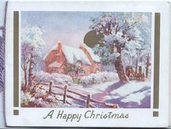 A HAPPY CHRISTMAS below winter rural inset, 4 horse coach distant right, houses left, fence front