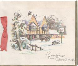 GREETINGS FOR CHRISTMAS snowy winter scene, horse & cart delivering to inn, tree left