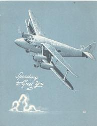 SPEEDING TO GREET YOU in white,4-engine air-liner banks & flies left, grey background