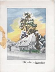 THE OLD HOMESTEAD inset of snowy cottage, trees behnd, person on street