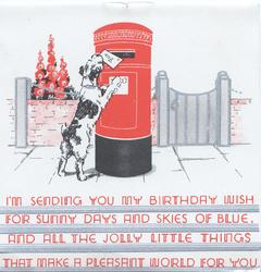 I'M SENDING YOU...dog posts letter in mail-box hollyhocks behind wall