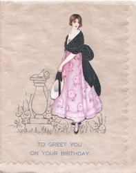 TO GREET YOU ON YOUR BIRTHDAY applique pretty girl in black & violet standing by sundial