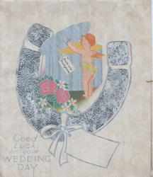 GOOD LUCK ON YOUR WEDDING DAY in blue below blue glitterd horseshoe & cupid opening a present, stylised flowers