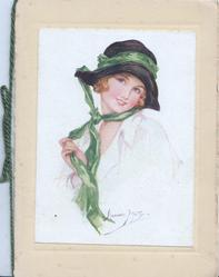 no front title, pretty girl holding green hat band on black hat, faces left looks front