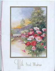 WITH BEST WISHES below garden scene, pink anemones right, path to garden seat