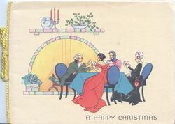 A HAPPY CHRISTMAS below 4 people in old style dress at table playing cards, fireplace behind