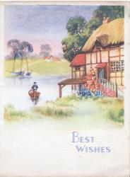 BEST WISHES in blue below riverside cottage, pink flowers, man punts acrooss from meadow & 3 boats