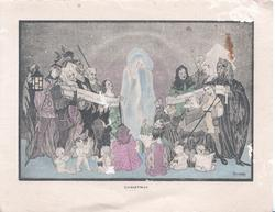 CHRISTMAS in blue below choir of adults & children in old style dress around vision of Mary