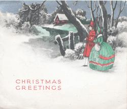 CHRISTMAS GREETINGS in red below couple in in old style dress walking left, snow scene, icy river, lighted cottage back