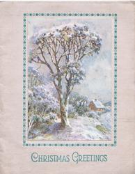 CHRISTMAS GREETINGS in green below inset of rural snowy winter scene, tree & distant cottage