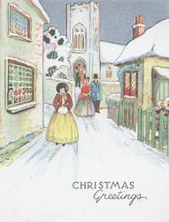 CHRISTMAS GREETINGS below people in old style dress leaving church, snowy village street