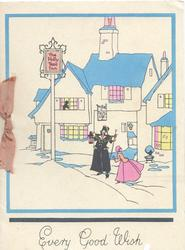 EVERY GOOD WISH in blue below blue framed THE HOLLY TREE INN, town crier & girl in old style dress
