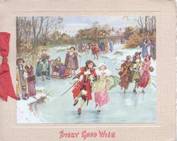 EVERY GOOD WISH in red below inset of many people in old style dress skating & enjoying ice & snow