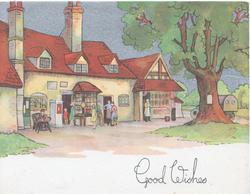 GOOD WISHES below village scene, tree, inn, post office & shop, several people