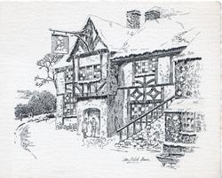 AN OLD INN, black & white sketch of old inn, 2 people in old style dress with drinks