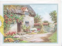 no front title, blue framed inset thatched cottage with pink roses & multicoloured flowers around, gate right
