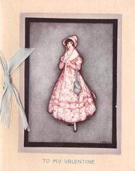TO MY VALENTINE opt. in blue, lady in pink dress & bonnet