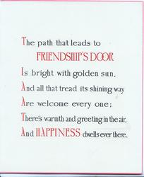 text but no front title:- THE PATH THAT LEADS TO FRIENDSHIP'S DOOR....