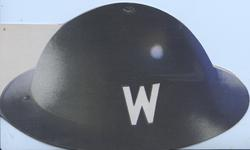 Air-raid wardens black helmet with W on side