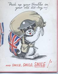 PACK UP YOUR TROUBLES...puppy carrying Union Jack & kit bag, helmet, sits on hind legs, looks front